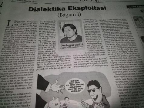 Tulisan ini dimuat di Harian Victory News (VN) tanggal 28 dan 29 April 2015. Harian ini beredar di beberapa pulau di Provinsi Nusa Tenggara Timur.